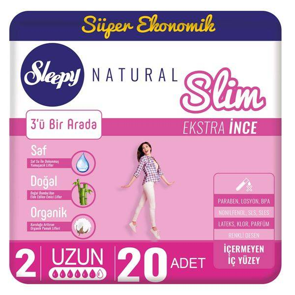 Resim Sleepy Natural Slim Ekstra İnce Uzun(20 Ped)