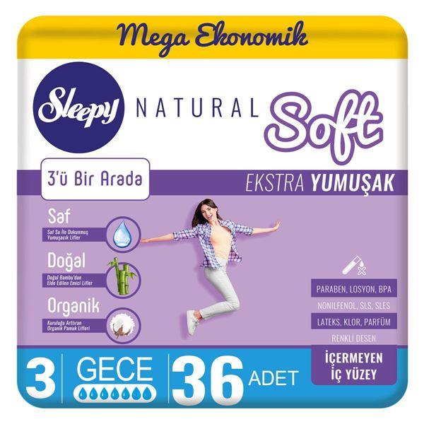 Sleepy Natural Soft Ekstra Yumuşak Gece(36 Ped)